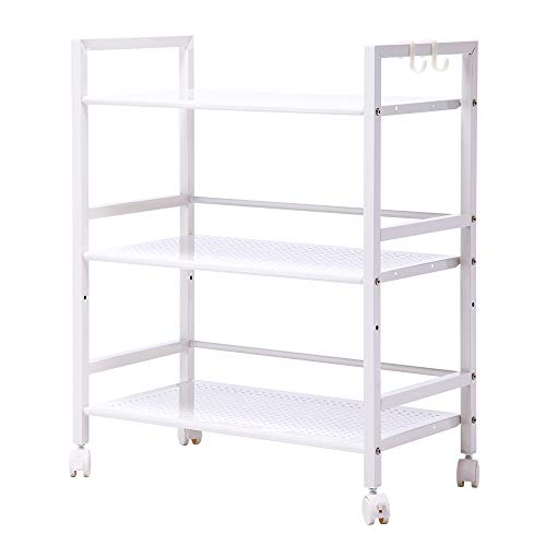SINGAYE 3-Tier Kitchen Rack Storage Cart with Wheels,Mesh Wire Rolling Cart Multifunction Utility Cart on Square Tube,55 lbs Weight Capacity, White