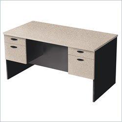Bestar Furniture 69400-2186 Hampton Executive Desk with Simple pulls and Shock Resistant PVC Edge in Sand Granite and (Office Bestar Furniture)
