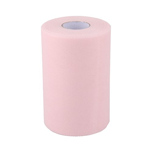 uxcell Polyester Home Dress Tutu Gift Decor DIY Craft Tulle Spool Roll 6 Inch x 100 Yards Light Pink by uxcell