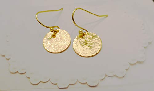 Hand Hammered Gold Disc Dangle Drop - Gold Hammered Disc Earrings