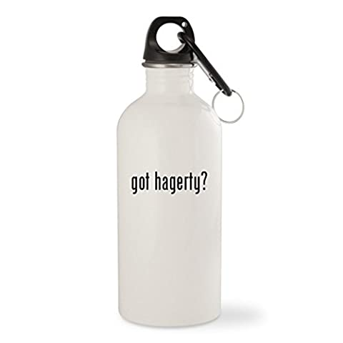 got hagerty? - White 20oz Stainless Steel Water Bottle with Carabiner - Hagerty Table