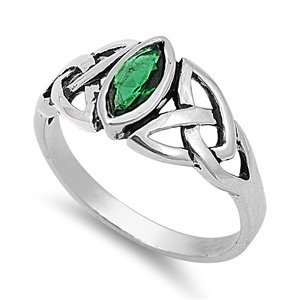 THE ICE EMPIRE 9mm Sterling Silver Green Simulated Emerald Marquis Celtic Knot Ring 5-10