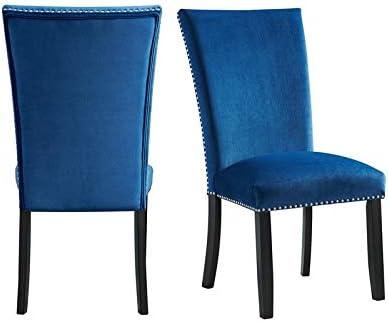 Picket House Furnishings Celine Blue Velvet Side Chair Set