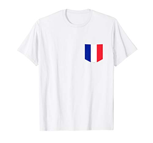 France Flag T-Shirt with Printed French Flag Pocket ()