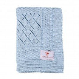 The Wool Company Patterned Knitted Baby Blankets Softest Blue