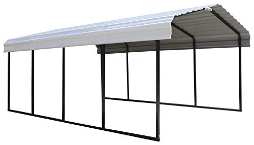Arrow CPH122007 29-Gauge Carport with Galvanized Steel Roof Panels, 12' x 20' x 7', White (Element Arrow)