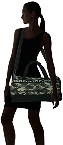 Golds Gym Camo Training Travel Sports Crossbody Shoulder Holdall Barrel Bag