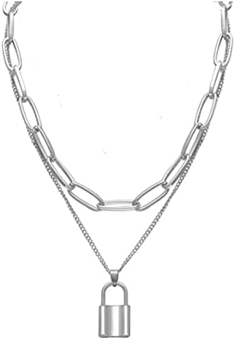 Lock Necklace Statement Long Chain Punk Multilayer Choker Necklace for Women Men