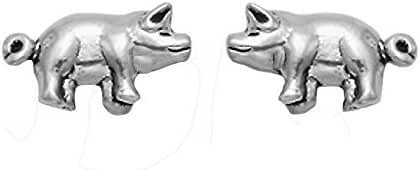 Tiny Sterling Silver Curly Tailed Pig Stud Earrings
