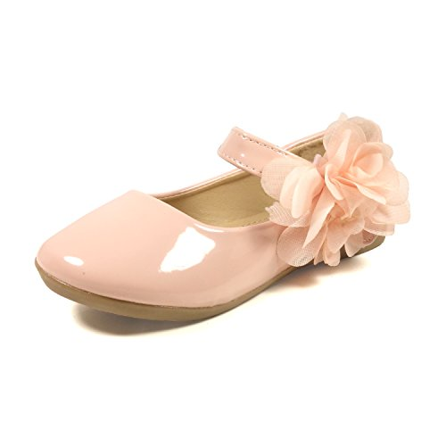 (Nova Utopia Toddler Little Girls Flower Girl Dress Ballet Mary Jane Bow Flat Shoes,NF Utopia Girl NFGF061New Pink)