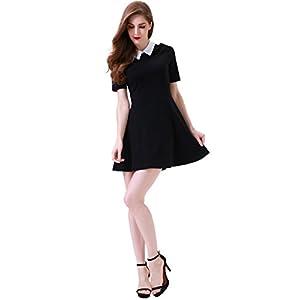 6127dfc34 Aphratti Women's Short Sleeve Casual Peter Pan Collar Flare Dress Black  XX-Large
