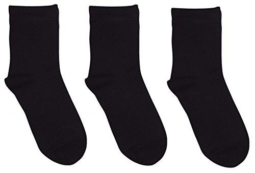 Rambutan Kids Comfort Seam Plain Color Bamboo School Socks (3 Pack) (13-2, Black)