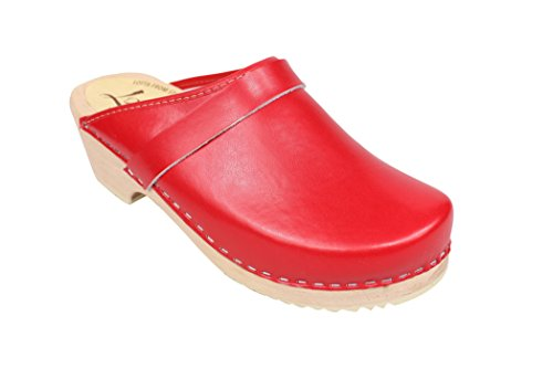 Lotta Classic Clog in Leather Swedish Stockholm Red From Clogs RrARgpq
