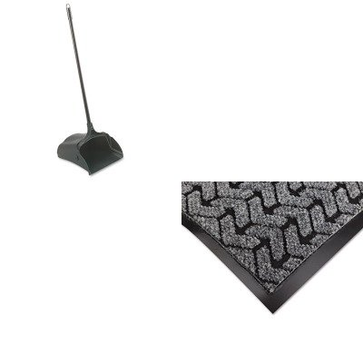 KITCWNTE0035GYRCP253100BK - Value Kit - Gray Tire-Track Mat, 3' x 5' (CWNTE0035GY) and Rubbermaid-Black Lobby Pro Upright Dust Pan, Open Style (RCP253100BK) by Crown
