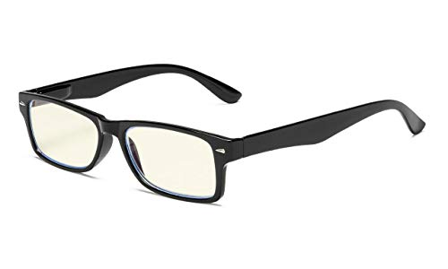 Eyekepper Computer Readers UV Protection, Anti Glare, Anti Blue Rays Eyeglasses (Black/Light Yellow Tinted Lens) +0.00 ()