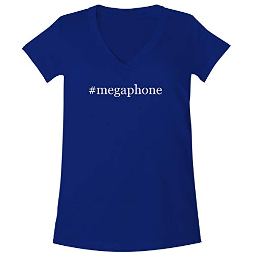 The Town Butler #Megaphone - A Soft & Comfortable Women's V-Neck T-Shirt, Blue, Large