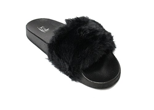 Kali Footwear Womens Flip Flop Faux Fur Soft Slide Flat Slipper Limit(Black,...