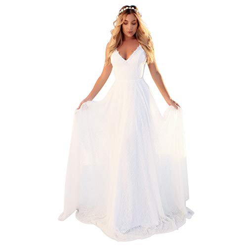 Bridesmaid Dress for Women Floral Lace Bandage Backless Formal Prom Wedding Ball Party Dress White