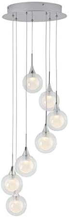 Artika Frosted Globe 7-LED-int. Pendant Lights Spiral, Chrome