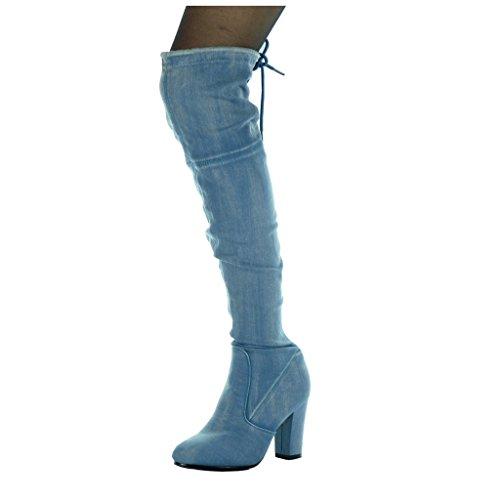 weicher cavalier Denim Angkorly CM Thigh 5 hoher Boot Absatz Block Damenmode Jeans 8 Schuhe Blau A1w00IxqB