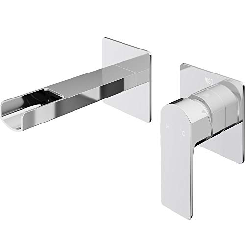 VIGO VG05005CH Atticus Solid Brass Single Handle Wall Mount Bathroom Faucet with DIY Installation and Premium 7-Layer Plated Chrome Finish