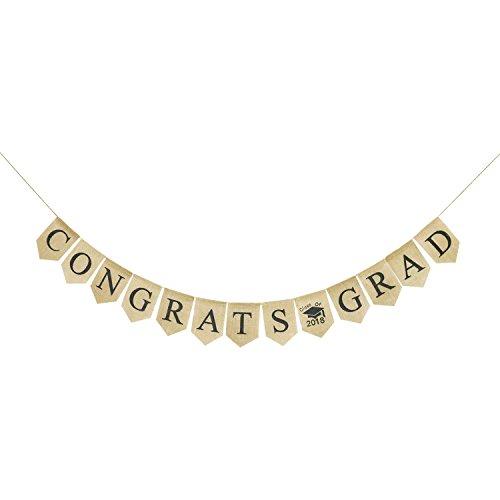 Congrats Grad Burlap Banner | Rustic 2018 Graduation Party Decorations | Class of 2018 Grad Bunting Garland | Graduation Photo props (Rustic Graduation Party)