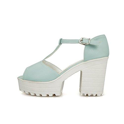 Damen Fischkopf Schuhe Niedriger Absatz Weiches Material Rein Sandalen, Blau, 38 VogueZone009