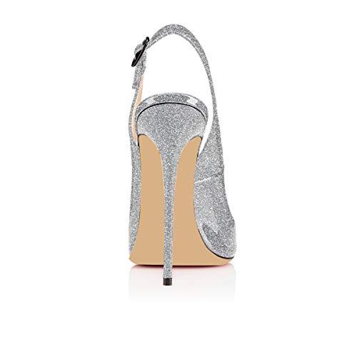 Chaussures Talon Décolletés De argent Haut Artisan Edefs Sandales 120mm Femmes Noir Fashion À Briller Bout Ouverts Zazx0qn