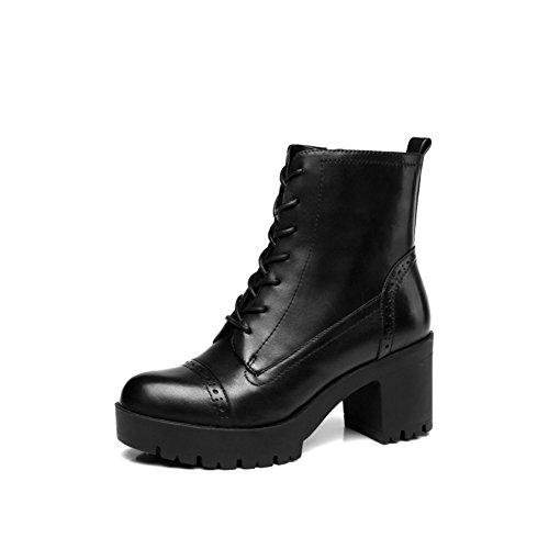 piede donna Alto Calzature inverno medio nero donna e spessore Stivali 22 Lunghezza Short 8CM Tacco boots di 9Inch Spessa autunno wS0qRczxPa