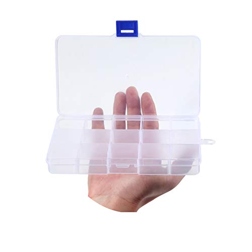 """Snowkingdom Transparent Plastic Grid Box Storage Organizer for Display Collection with Adjustable Dividers - 15 Clear Grids - 6.9""""x4""""x0.9"""""""