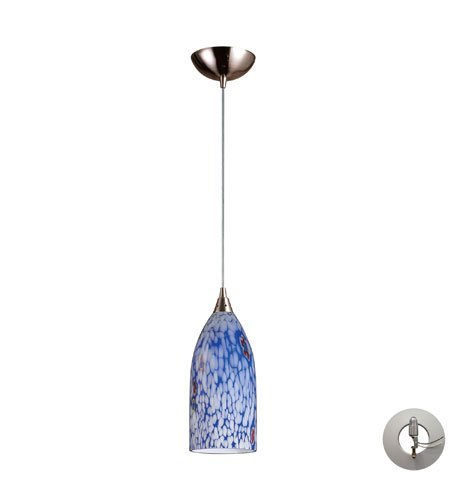 Pendants 1 Light with Satin Nickel Starburst Blue Glass 5 inch 75 Watts - World of Lamp