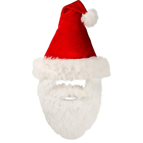 amscan Velour Santa Hat with Plush Beard | Christmas Accessory