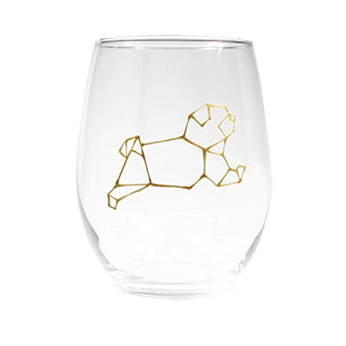 Dog Wine Glass Stemless Gold