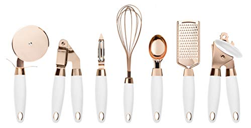 COOK With COLOR 7 Pc Kitchen Gadget Set Copper Coated Stainless Steel Utensils with Soft Touch White - Roses Kitchen