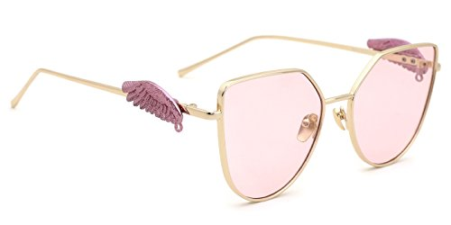 TIJN Oversized Gold-tone Cat Eye Sunglasses with Wing Embellished for - Sunglasses Wing