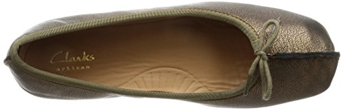 Clarks Women's Freckle Ice Ballet Flats, Red, One Size Grey (Bronze Leather)