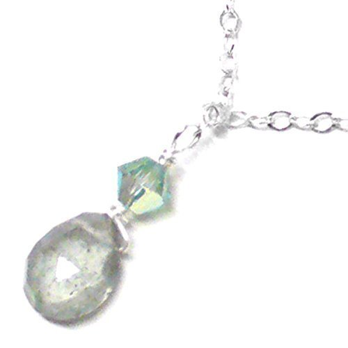 Moss Aquamarine Briolette Dainty Chain Necklace Sterling Silver ()