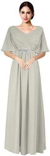 VaniaDress Women V Neck Half Sleeveles Long Evening Dress Formal Gowns V265LF Gray US16 from Vania Dress