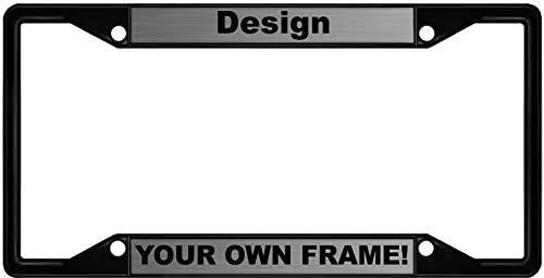 Custom Personalized 4 Hole Black Metal Car License Plate Frame with Free caps - Steel/Black