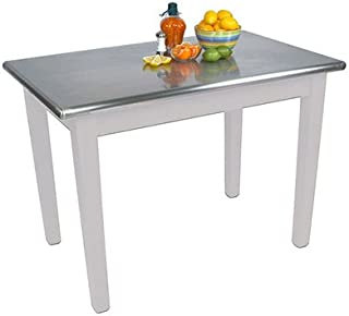 """product image for John Boos Cucina Americana Moderno Prep Table with Stainless Steel Top Size: 48"""" W x 30"""" D, Base Finish: Alabaster White"""