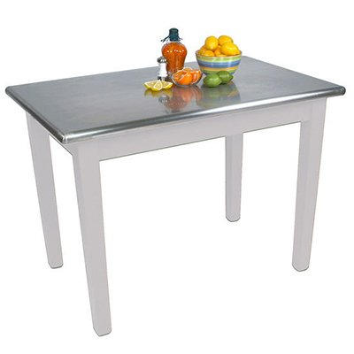 Table Stainless Steel Solid Top (Cucina Americana Moderno Prep Table with Stainless Steel Top Size: 48