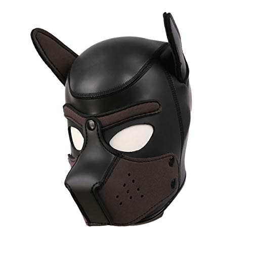 Dog Mask Leather (Raycity Leather Full Face Mask Dog Puppy Hood Removable Mouth Costume Party Cosplay Unisex)