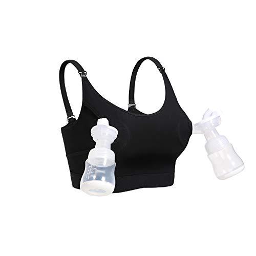 Hands Free Pumping & Nursing Bra, Lupantte Adjustable Breastfeeding Bra for Holding Breast Pumps Like Spectra, Medela, Lansinoh, Philips Avent, Ameda, Bellababy,etc.(Medium)