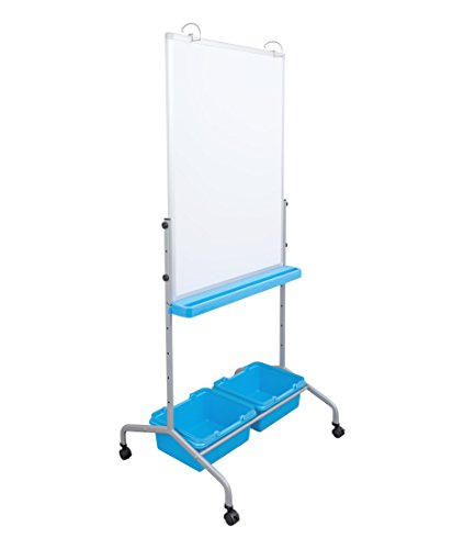 Height Adjustable Mobile Whiteboard and Flipchart Easel with Storage Bins and Chart Hooks by Stand Up Desk Store