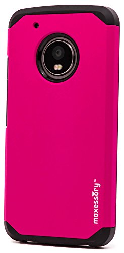 Motorola Moto G5 Plus Case, Maxessory Hot Pink Globetrotter Heavy-Duty Protective Hybrid Cover w/Durable Shock-Absorbing Full-Body Protective Tough Hard Shell ()