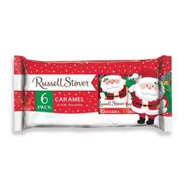 Russell Stover Milk Chocolate Caramel Santa 6-Pack, 6 oz. bar