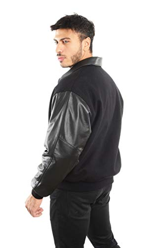 REED Men's Premium Varsity Leather/Wool Jacket Made in USA (Small, Black - Leather Collar) -