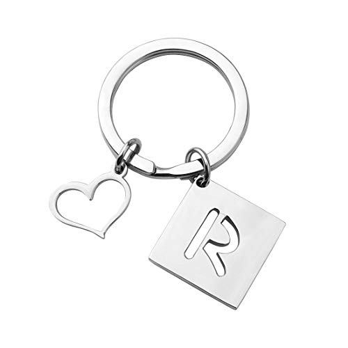 bobauna Stainless Steel Cut Out Alphabet Initial Letter Keychain Key Ring Personalized Gift (Letter R Keychain)