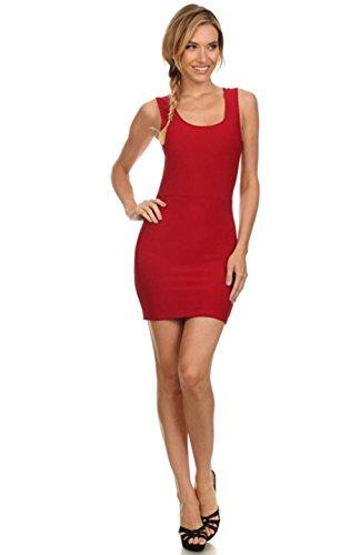 2LUV Women's Scoop Neck Open Back Bodycon Mini Dress red L (S5025)