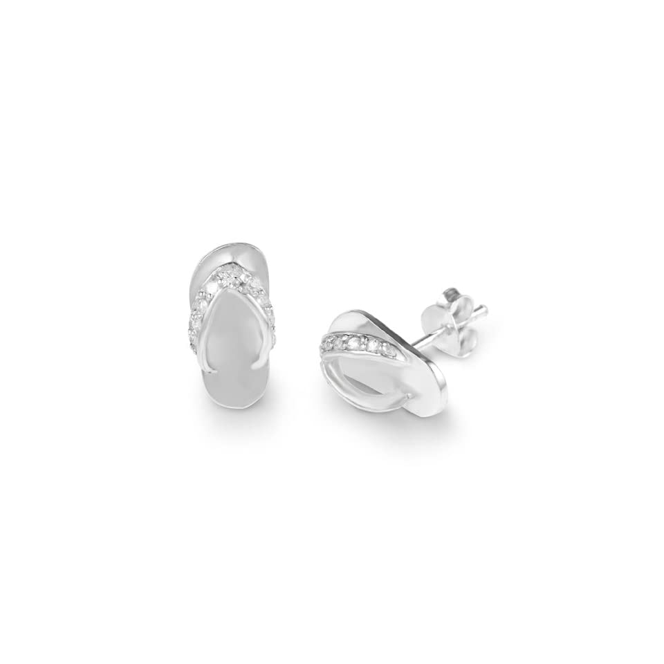 925 Sterling Silver CZ Cubic Zirconia Diamond Small Flip Flop Slipper Shoes Post Stud Earrings 15 mm Fashion Jewelry for Women, Teens, Girls   Nickel Free